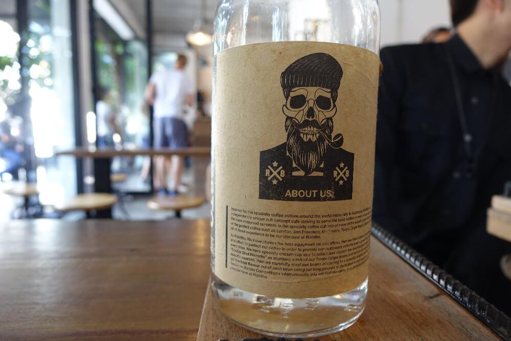 Ristr8to Branding Detail Wasserflasche