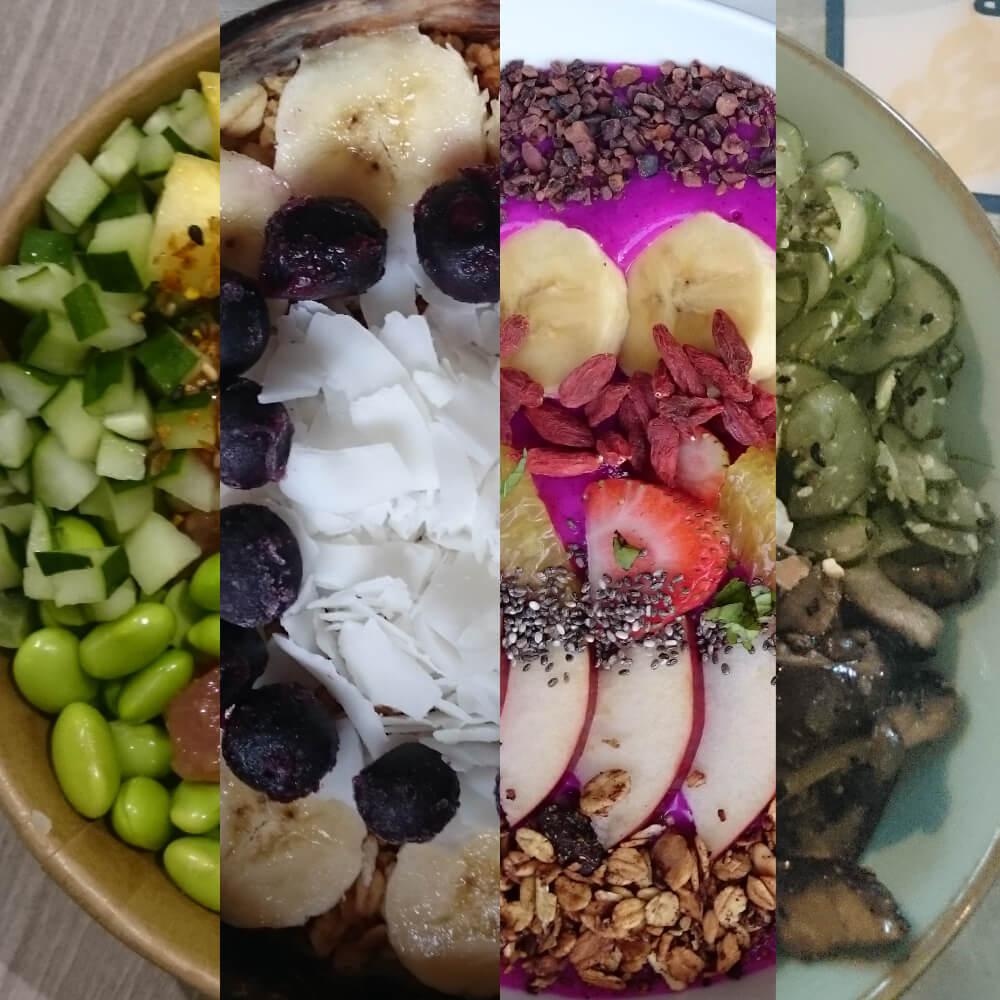 Verschiedene Konstraste zwischen Speise und Teller