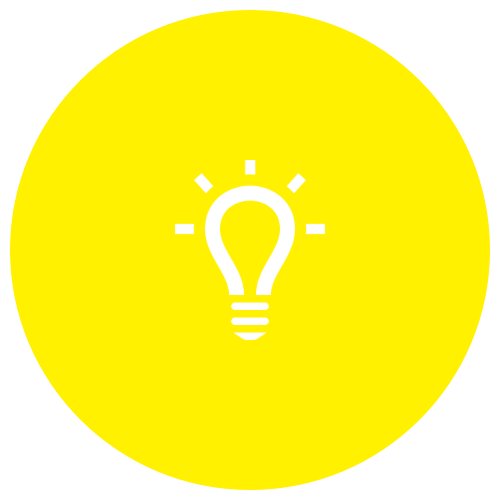 Icon Gluebirne weiss auf gelb: uns ging ein Lich auf