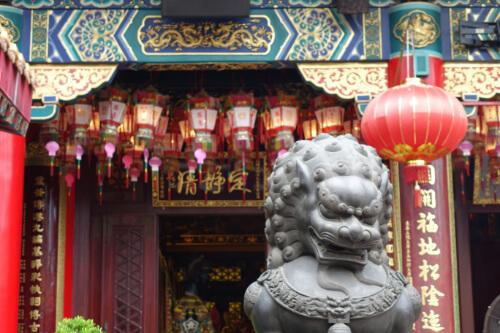 Eingang eines chinesischen Tempels in Hong Kong