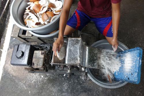 Zerkleinerung des Fruchtfleischs bei der Fermentationsmethode zur Herstellung von Kokosoel